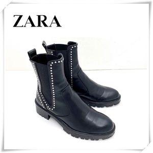 Zara Studded Chunky Heel Ankle Moto Boot Black